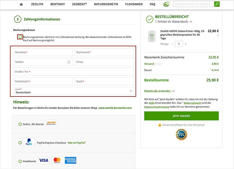 Abweichende Rechnungsadresse eingeben und Zahlungsweise wählen